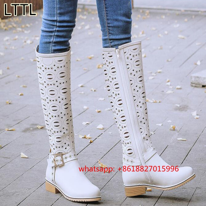 170.00$  Watch here - http://alivcb.worldwells.pw/go.php?t=32789952217 - Spring Autumn Full Grain Leather Hollow Knee High Boots Round Toe Low Heels Casual Mid Calf Boots Women Boots White Single Shoes 170.00$