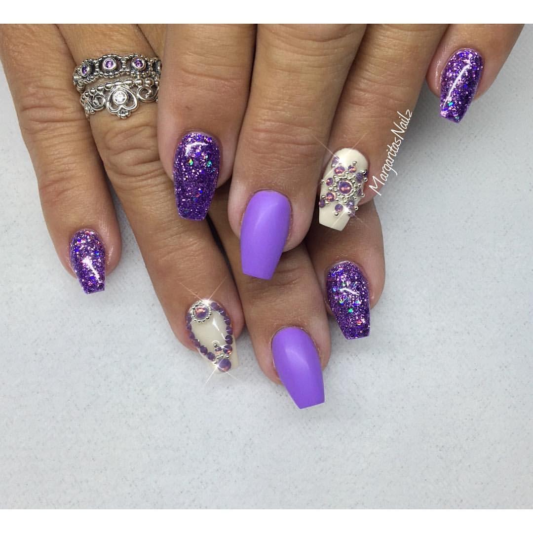 purple matte and glitter short coffin nails Swarovski ...