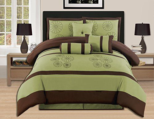 Chezmoi Collection 7-Piece Coffee Quilted Patchwork Comforter Set Full Aqua Blue//Sage Green