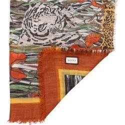 Photo of Schal Sl Felins Gard Wolle Tiermuster Logo orange Gucci