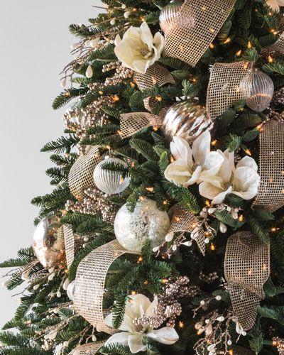 White Magnolia Picks Set Of 12 Elegant Christmas Trees Christmas Tree Decorations Christmas Tree Inspiration
