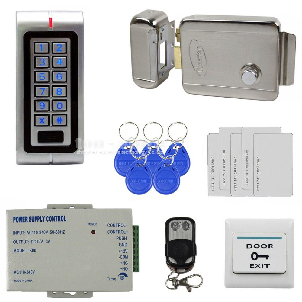Diysecur Waterproof 125khz Rfid Metal Keypad Access Control System Kit Set Electric Door Lock Rf Access Control Access Control System Electronic Door Locks