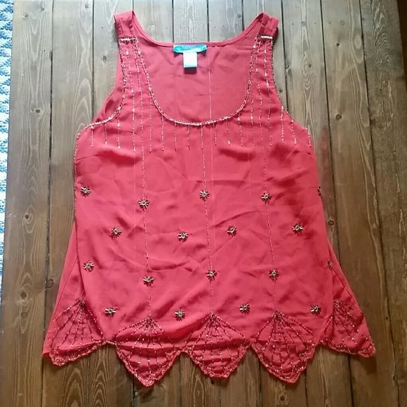Coral sheer tank This is a great top for summer! Looks very cute with white jeans or shorts. It has been gently worn and some of  the beading on the left side has fallen off (pictured) Tops Blouses