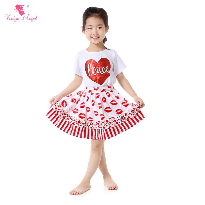 72bbfd0271a9 Find More Clothing Sets Information about Valentines Day Girls Clothes Love  of Hearts T Shirt Skirt