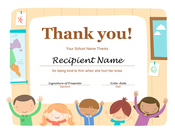 thank you certificate templates for word