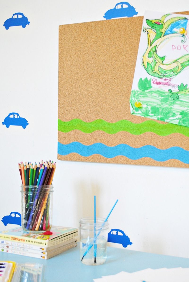 DIY Painted Cork board and Kid\'s Art Station | Classy Clutter Blog ...
