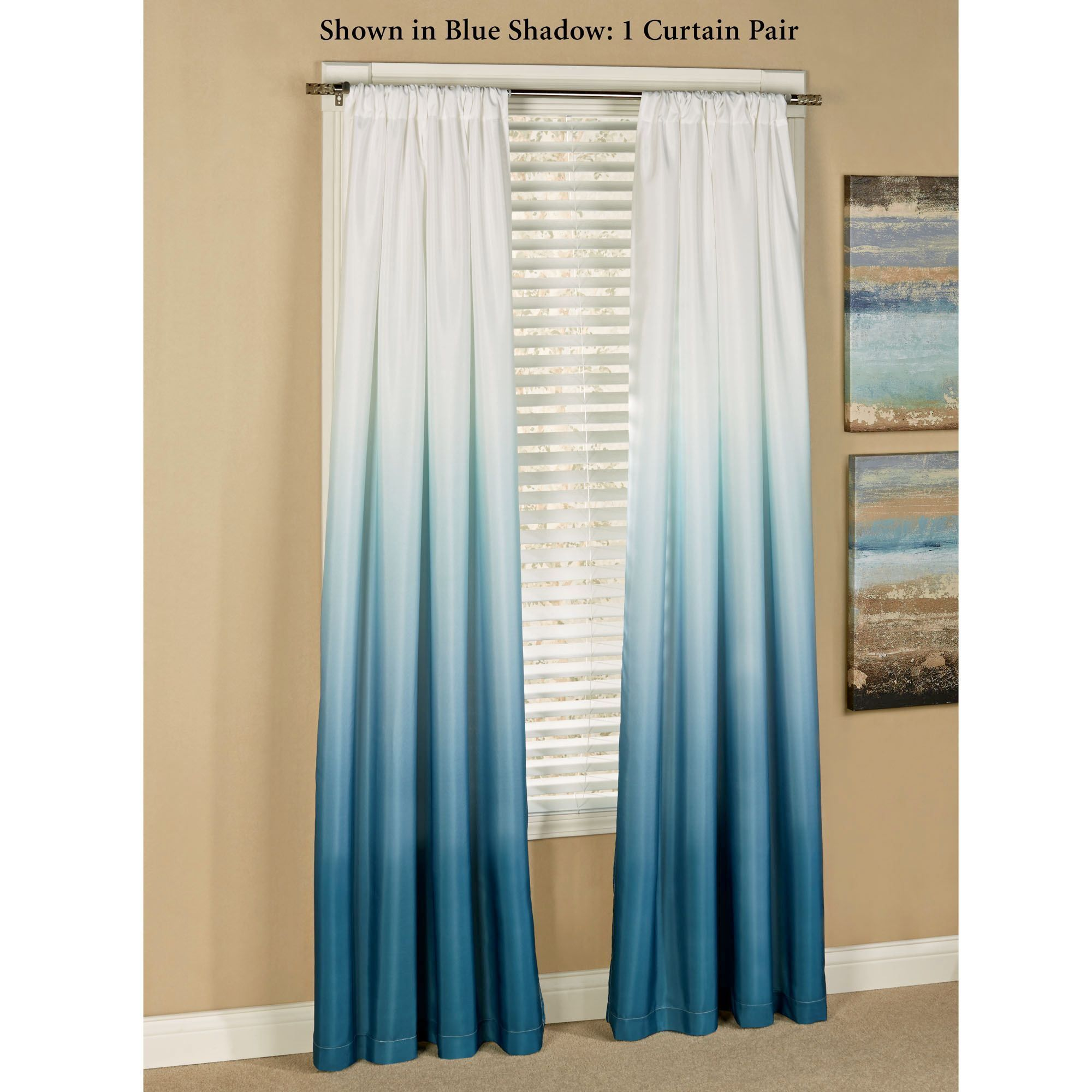 Blue curtain living room - Shades Ombre Curtains