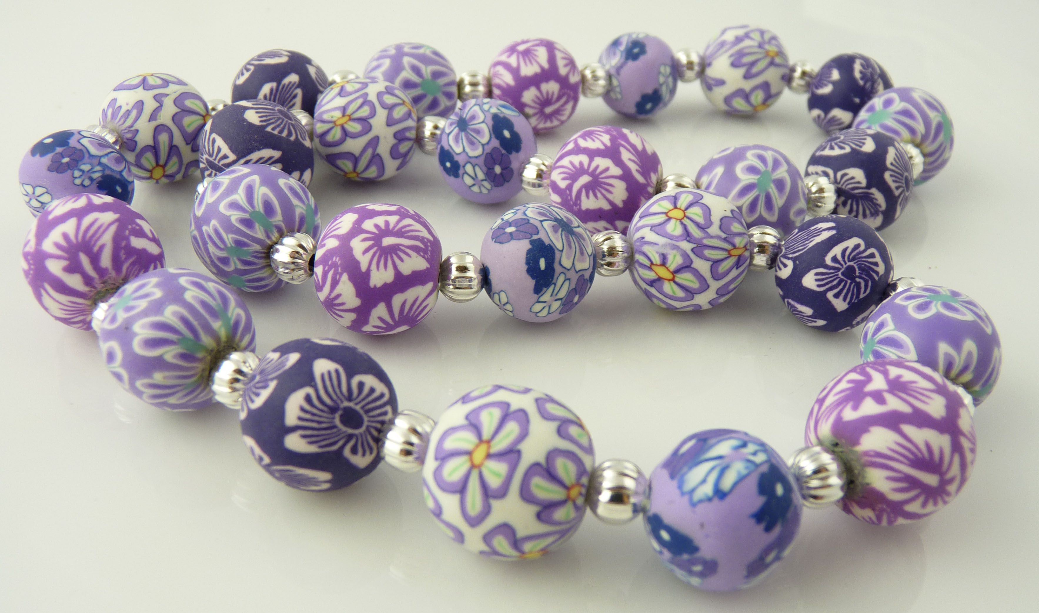 English lavender 14mm ball polymer clay necklace snazzy beads english lavender 14mm ball polymer clay necklace snazzy beads handmade clay jewelry polymer aloadofball Choice Image