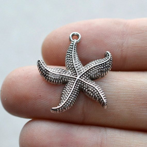 BULK 50 Starfish #BCH151 Antique Silver Charms-Starfish-Ocean life Charms-Antique Silver Jewelry Supplies-Alloy Metal Loose Charms-Findings
