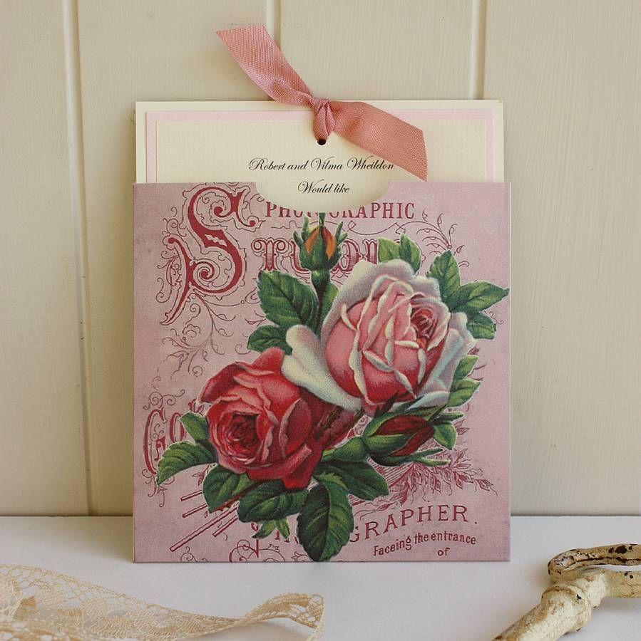 pink roses handmade wedding invitation by claryce design ...