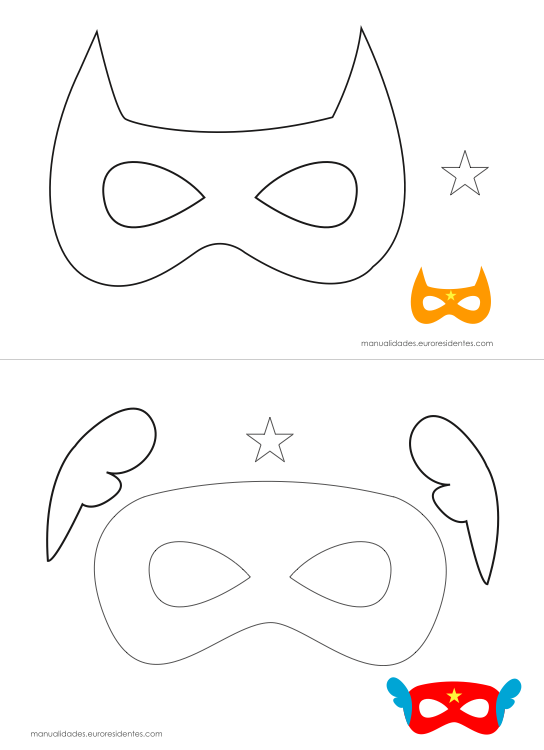 Originales máscaras de superhéroes para imprimir | Masks, Capes, Etc ...