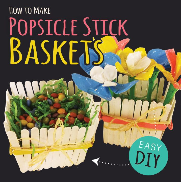 Using a plastic strawberry carton as a guide we made this cute popsicle stick basket. Perfect for candy or duck tape flower pens.