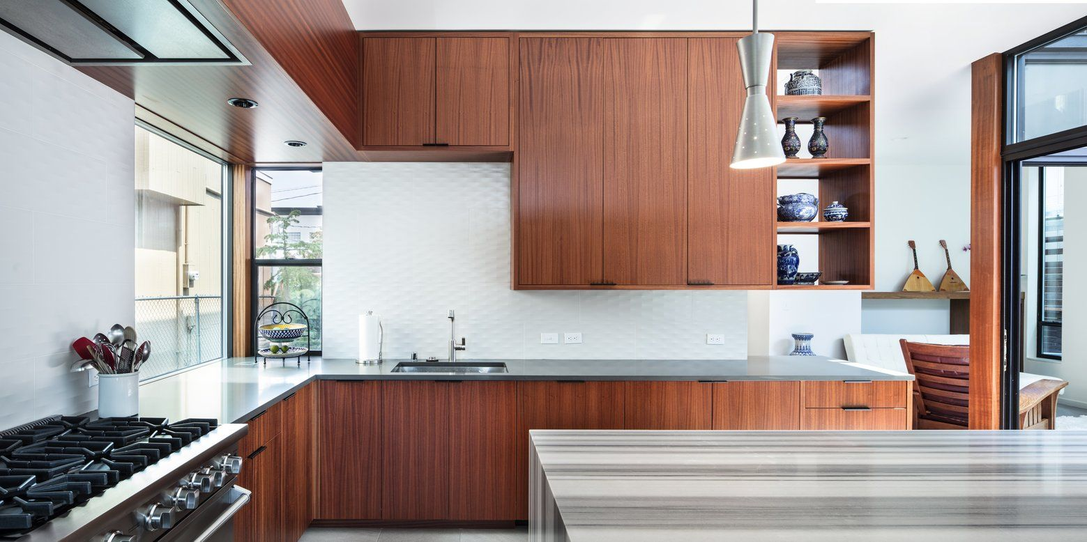 The Modernized Kitchen Has A 10 Foot High Ceiling Built In Stove Hood Marble Topped Island Caesarstone Counte Trendy Kitchen Tile Modern Kitchen 1960s House
