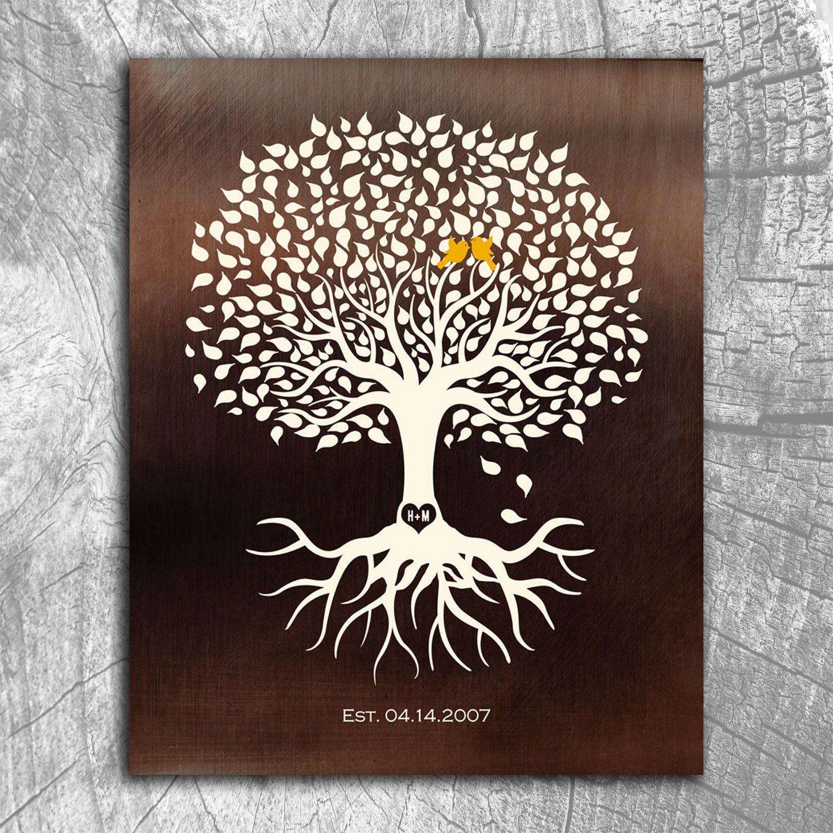 Personalized Anniversary Minimalist Tree on Faux Bronze Background ...