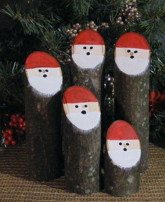 Gift Ideas Real Log Style: Log Santas, Primitive Christmas Decorations, Wooden Santa