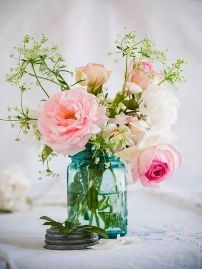 Pink Flowers Filled In Aqua Mason Jar Centerpieces For Wedding