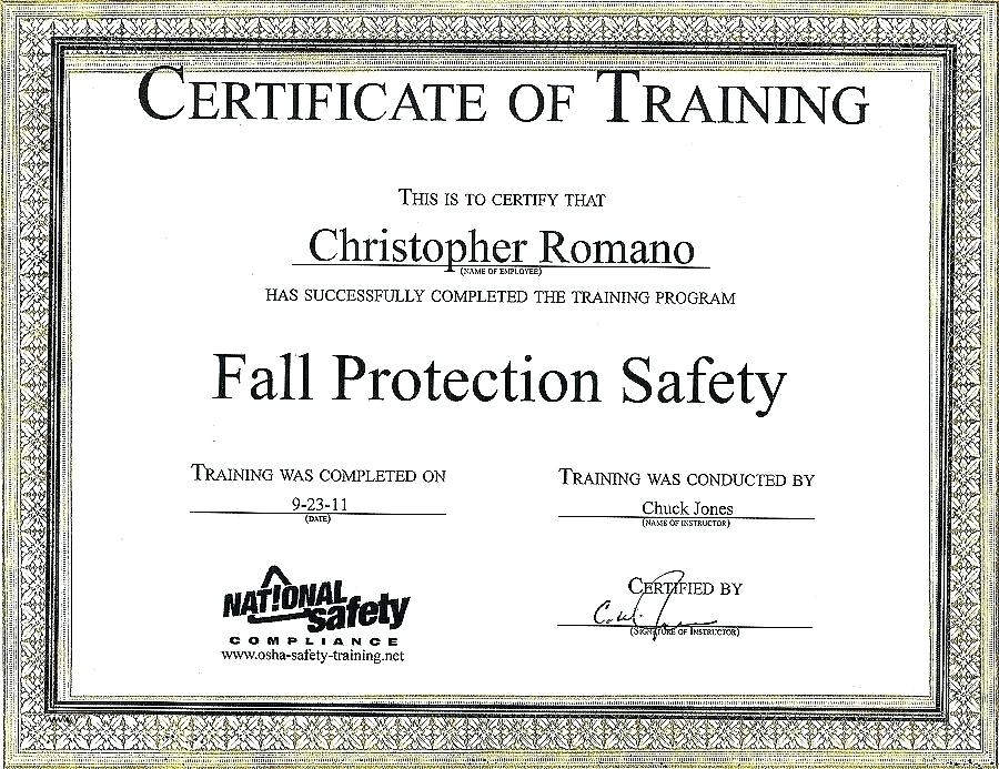 Fall Protection Certification Template 1 Professional Templates Training Certificate Certificate Templates Professional Templates
