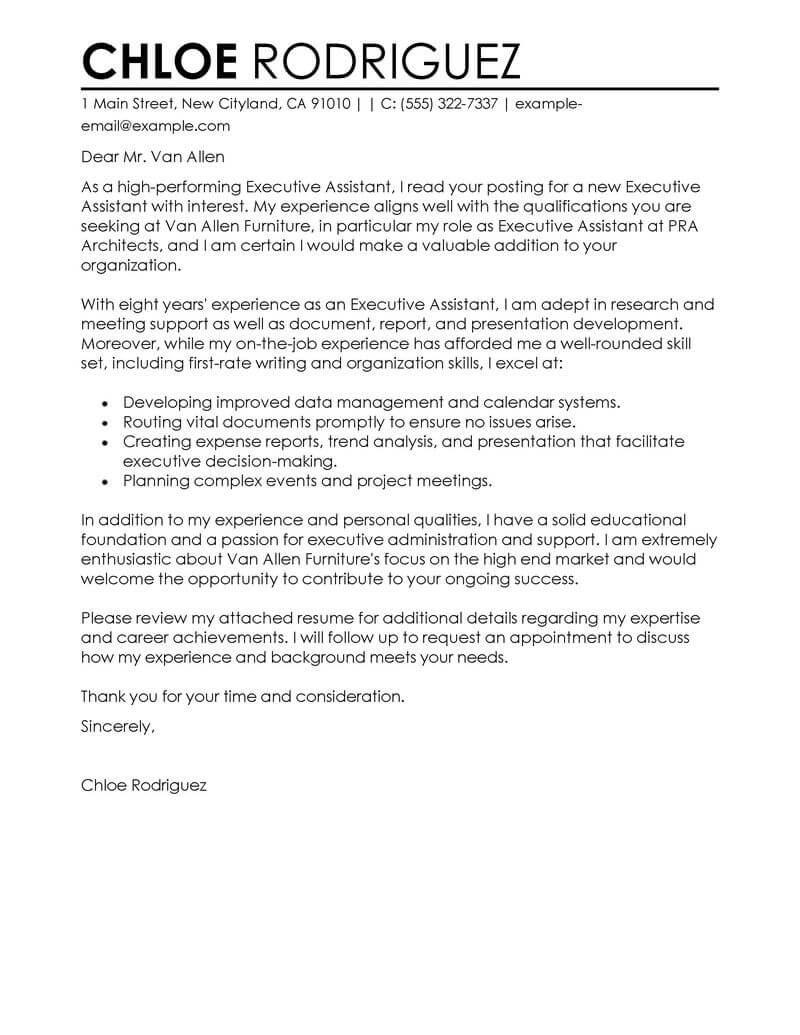 Nurse Executive Cover Letter Best Executive Assistant Cover Letter Examples Livecareer