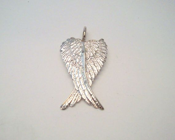 Silver angel wings pendant 925 sterling silver wing charm silver angel wings pendant 925 sterling silver wing charm religious catholic christian jesus cross aloadofball Image collections