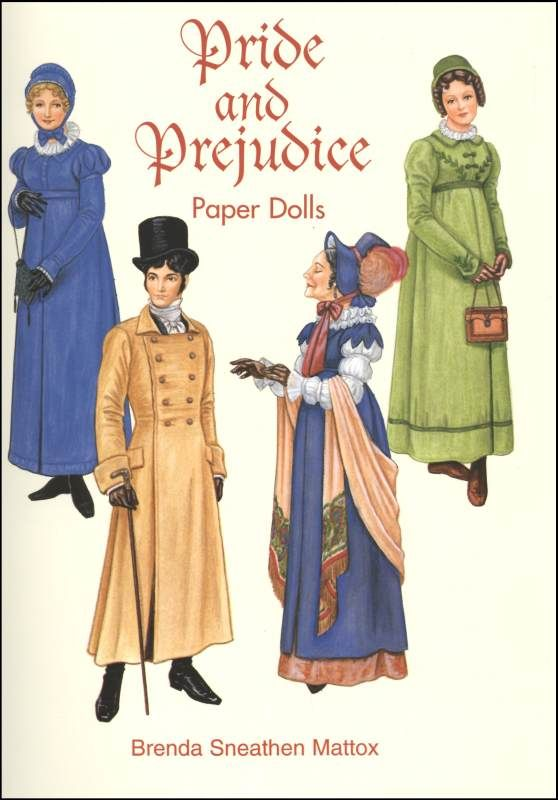 8 paper dolls include Elizabeth, Jane and Lydia Bennet; Mrs. Bennet; Mr. Bingley, Mr. Darcy; Lady Catherine; and Mr. Wickham. It is apparent that the illustrator received her inspiration from the motion picture, as the 48 period costumes depicted here closely resemble those seen in the movie.