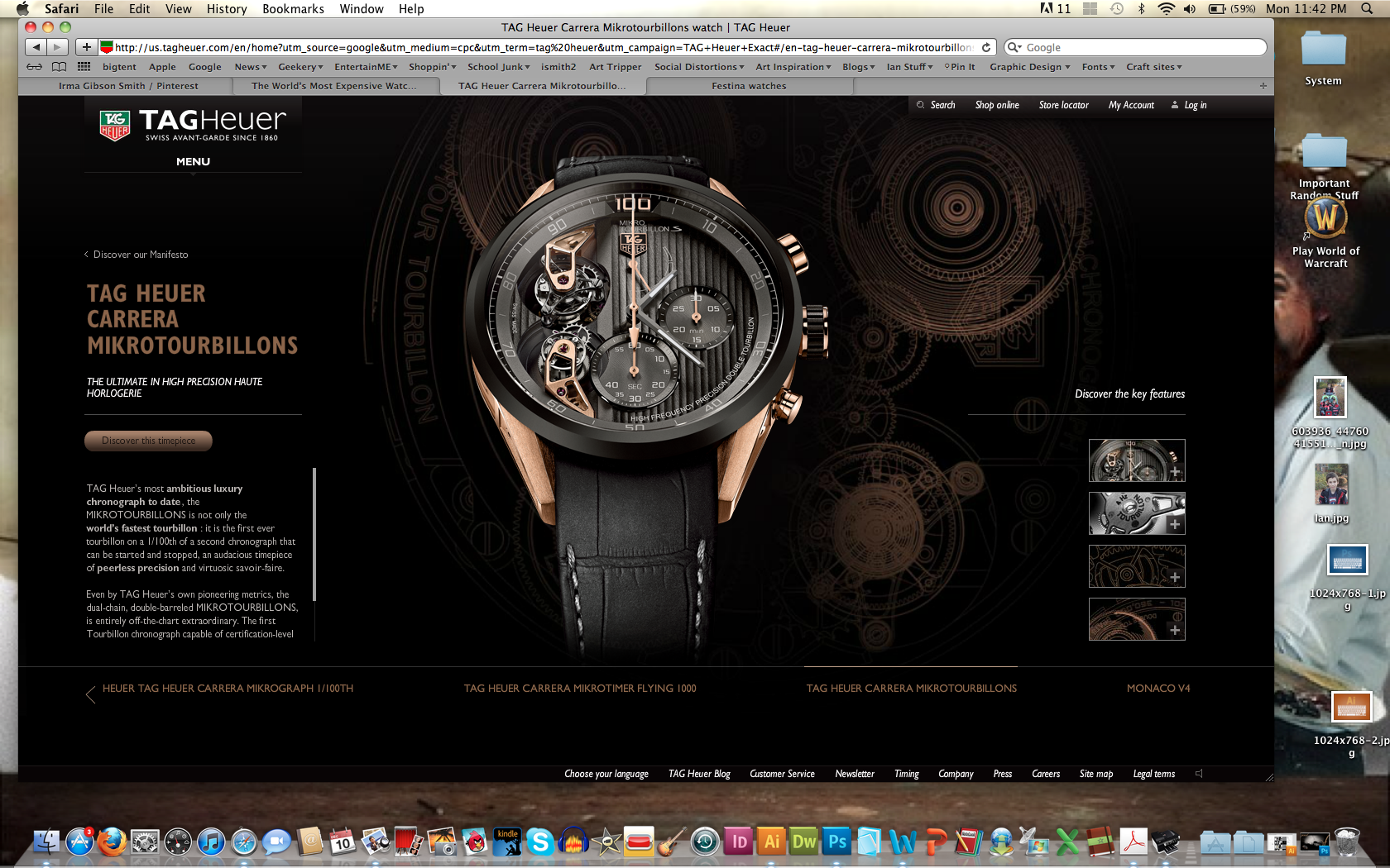 Tag Heuer screen shot of web site