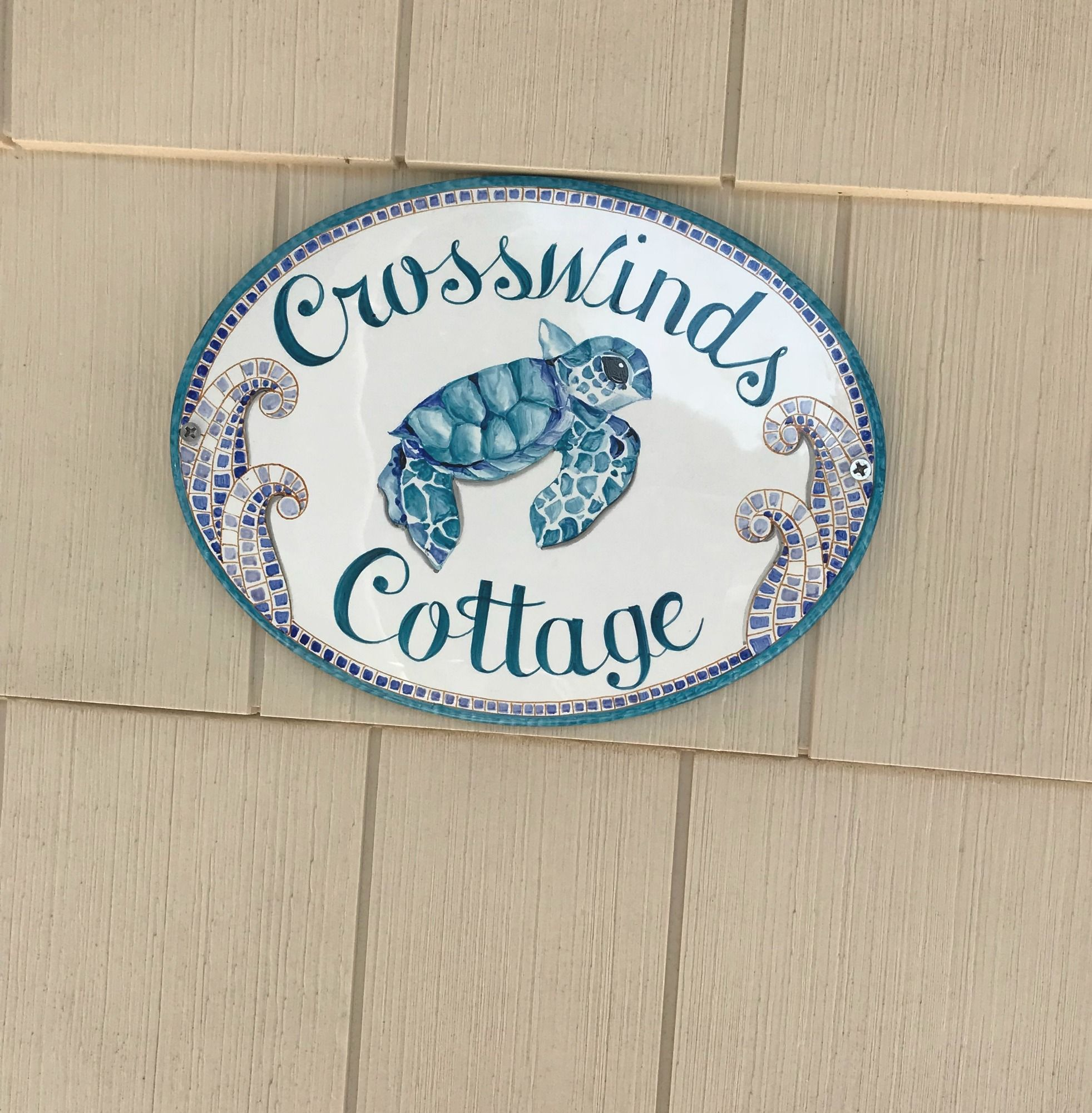 Sea Turtle Personalized Beach Sign Welcome House Sign Ceramic House Plaque For Outdoor Coastal Theme Turquoise Beach Signs House Plaques Beach House Names
