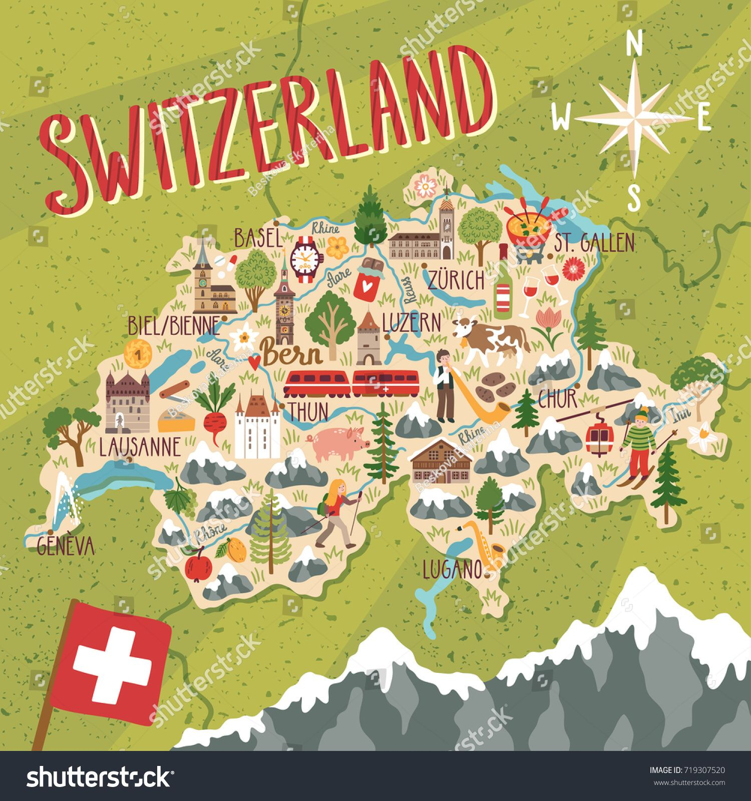 Vector Stylized Map Of Switzerland Travel Illustration With Swiss