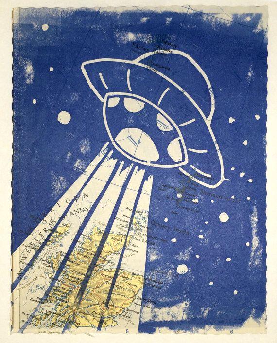 Linolschnitt UFO  Kinderzimmer Deko  fliegende von karmastau