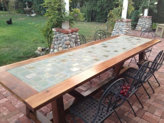 learn how to build a tile-top provence outdoor dining table! free