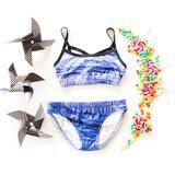 Switch Sportswear- Purple Tree 2 piece swimwear. Chlorine Resistant athletic swimwear