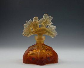Art Deco Amber Glass Perfume Bottle