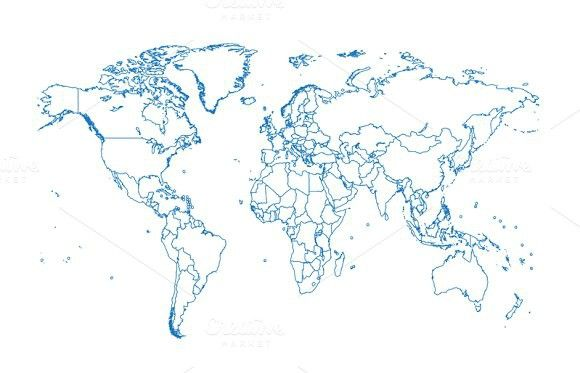 World Map With Borders Blue Color Pinterest Travel Icon - World map in blue color