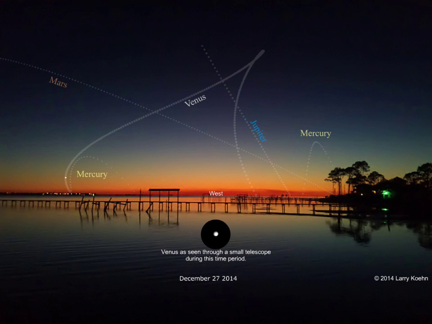 Venus in the evening sky 45 minutes after sunset from December 2014 through August 2015