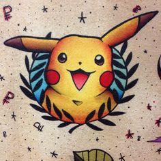 Pikachu traditional tattoo from pokemon
