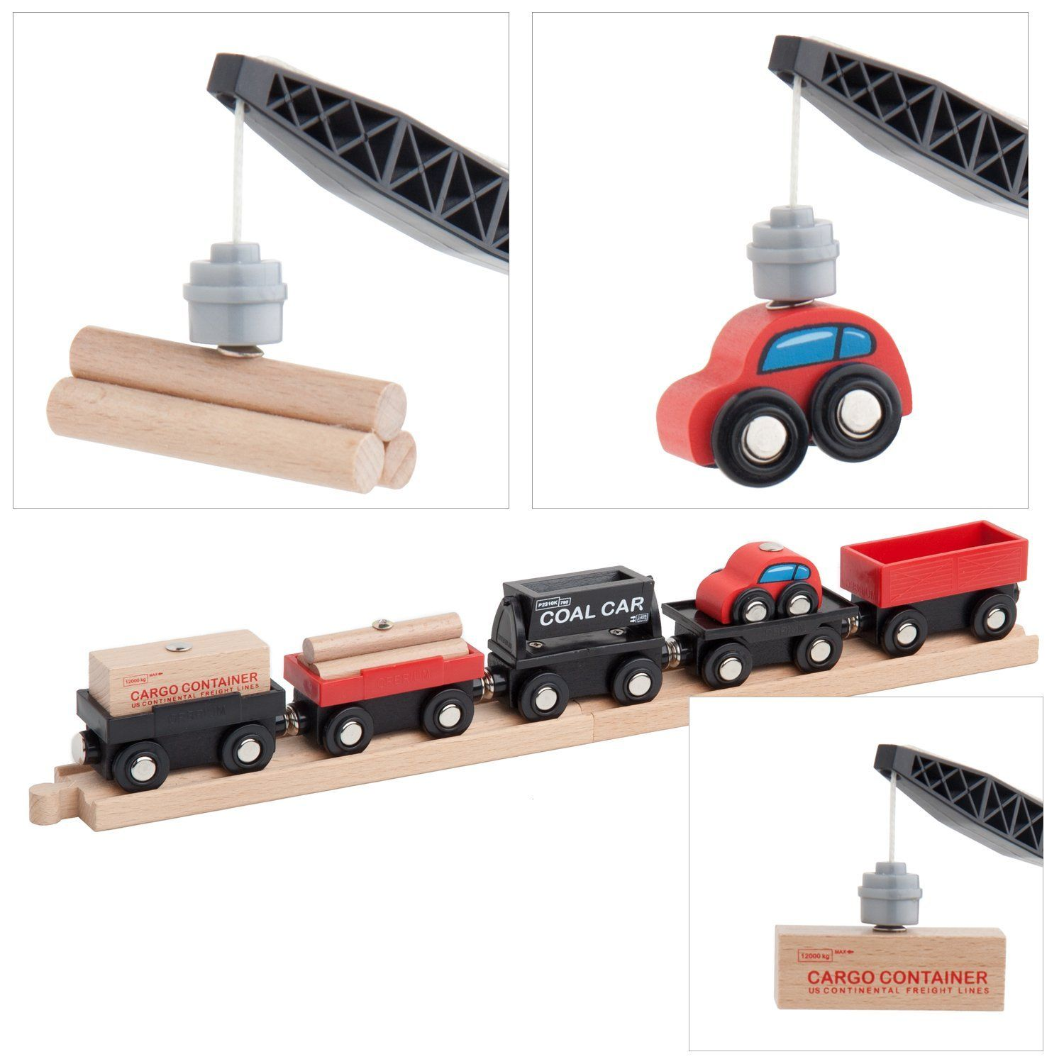 Amazon.com: Orbrium Toys Cargo Train Car Set for Wooden Railway Fits ...