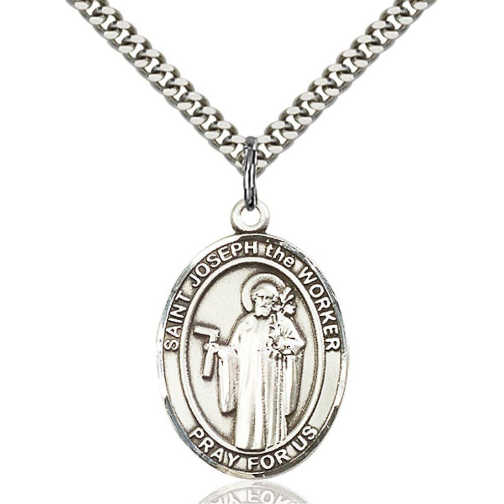 Custom Engraved Sterling Silver St. Joseph The Worker Pendant 1 x 3/4 inches with Heavy Curb Chain. Custom Engrave a special message for Confirmation, First Communion, Baptism, New Baby, Anniversary, Memorial, etc!. Sterling Silver, 24-inch Chain Included. 1 x 3/4 inches. Hand-Made in Rhode Island with Lifetime No-Tarnish Guarantee. Great prayer aid gift for Confirmation, First Communion, Baptism, Memorial, etc.