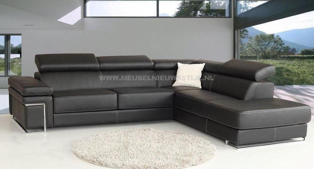 Hoekbank zwart leer meubel nieuwe stijl ideeën voor het huis