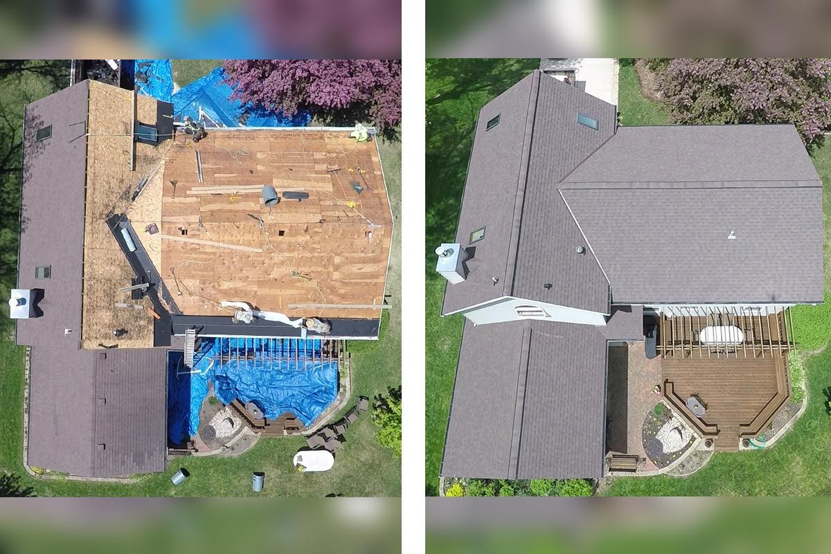 Best Before After Roof Repair Transformation Owens Corning Oakridge Shingles Teak Asphalt Roof 400 x 300
