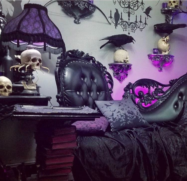 remarkable purple gothic bedroom | Black leather and purple parlor featuring crows/Ravens and ...