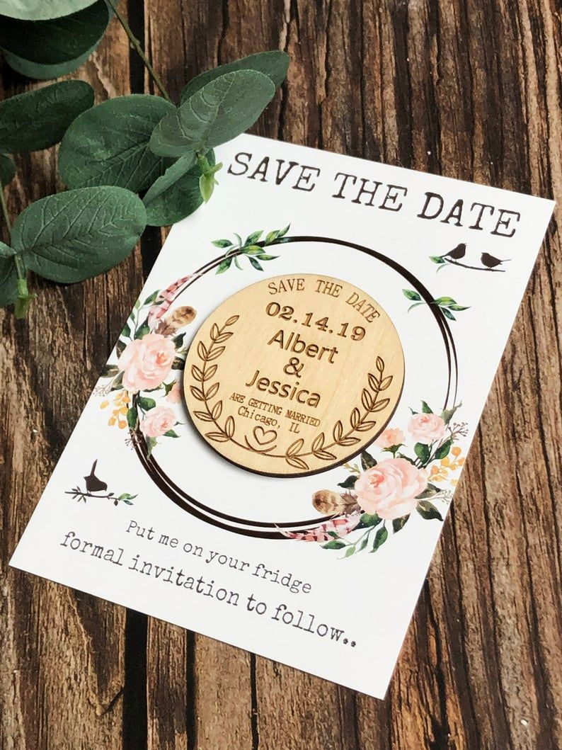 Wooden Magnet Wooden Magnet Personalized Save the Dates Wedding Favors Bridal Shower Invite Custom Save the Date Wedding Magnets