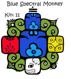 Blue Monkey | Tone 11 | Spectral | Kin 11 | I dissolve in order to play. Releasing illusion. I seal the process of magic. With the spectral tone of liberation. I am guided by my own power double.