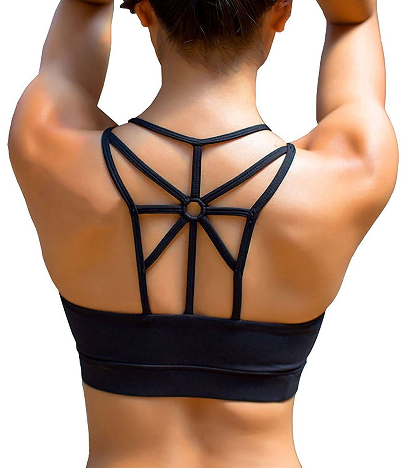 3e90d9ac78c7a YIANNA Womens Sports Bra Padded Elastic Breathable Wireless High Impact  Yoga Bra Top  Amazon.