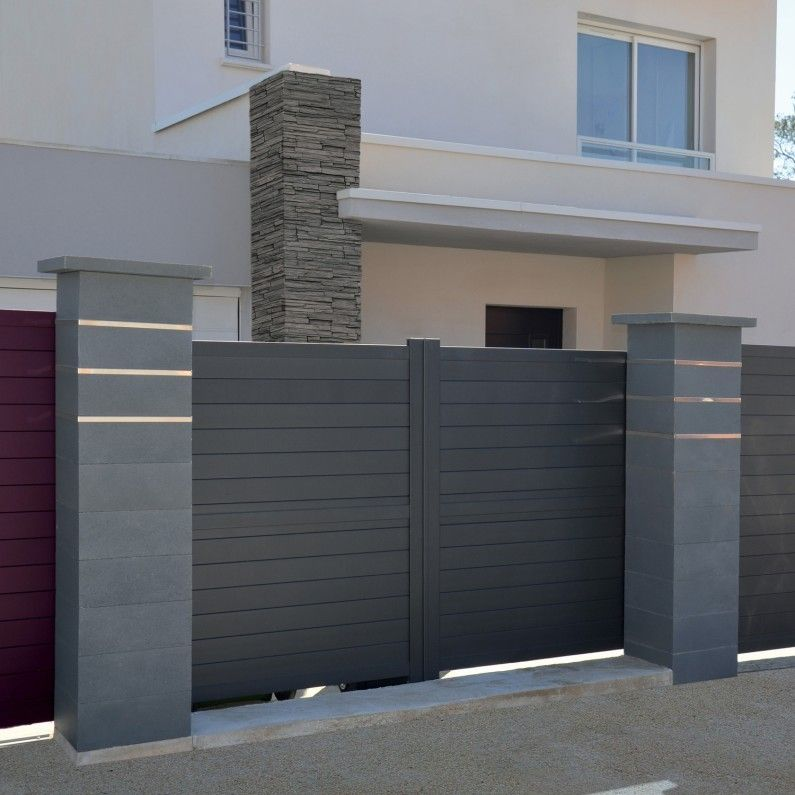 Habillez Votre Portail De Piliers Contemporains Lisses Gris Gate Designs Modern House Gate Design Home Gate Design