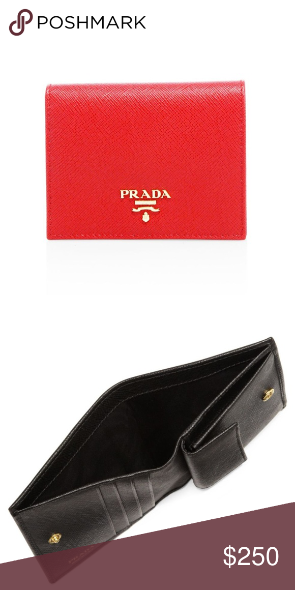 eeffa0c9b1c5ac Prada Mini Saffiano Leather Bifold Wallet in Red Mini leather logo wallet  in textured saffiano leather. Dust bag, authenticity card, and box  included. EUC ...