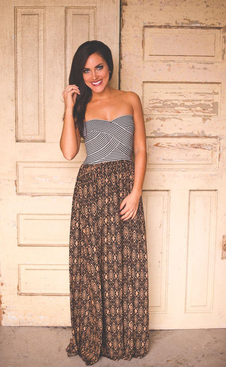 66f19f473e4 Final Sale · Dottie Couture Boutique - Strapless Maxi- Mocha Tribal