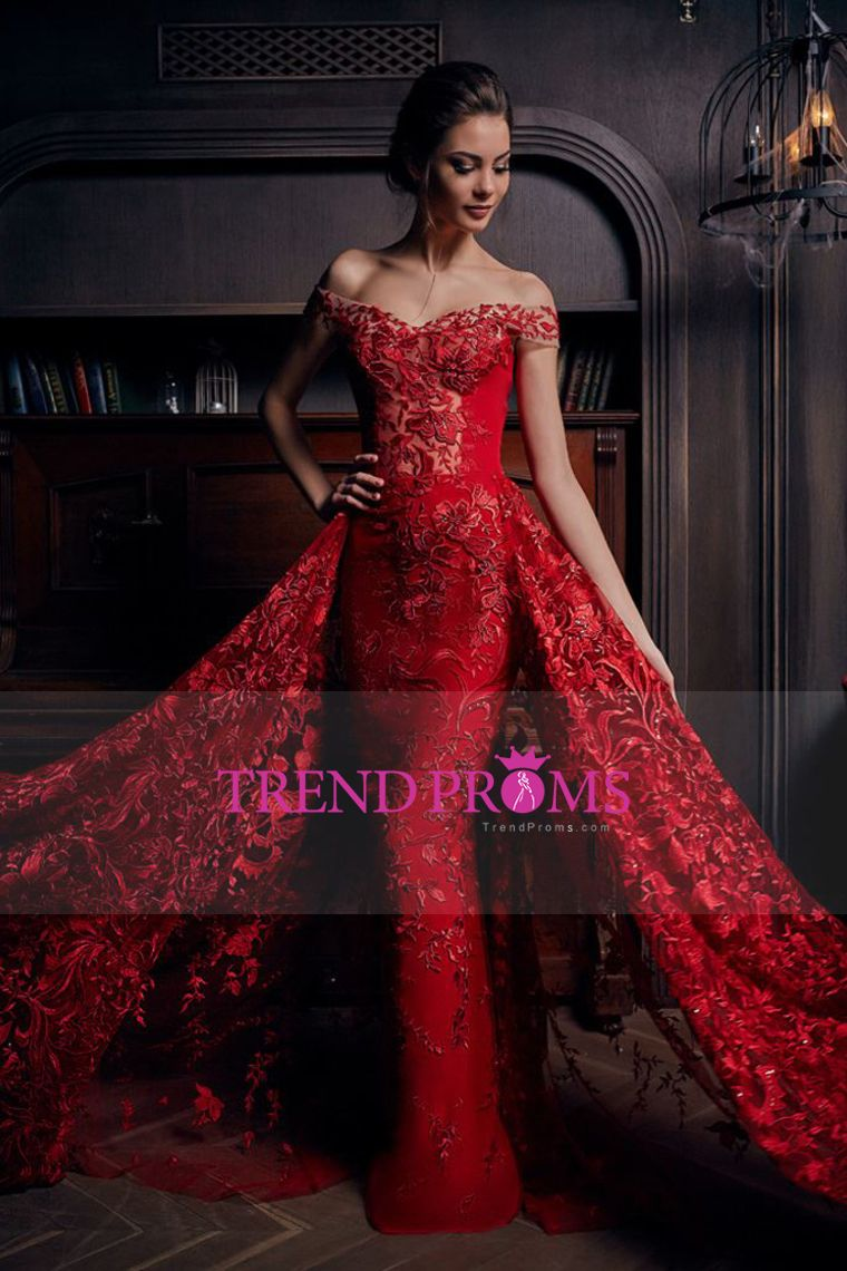 2019 Lace Off The Shoulder Mermaid Prom Dresses Court Train