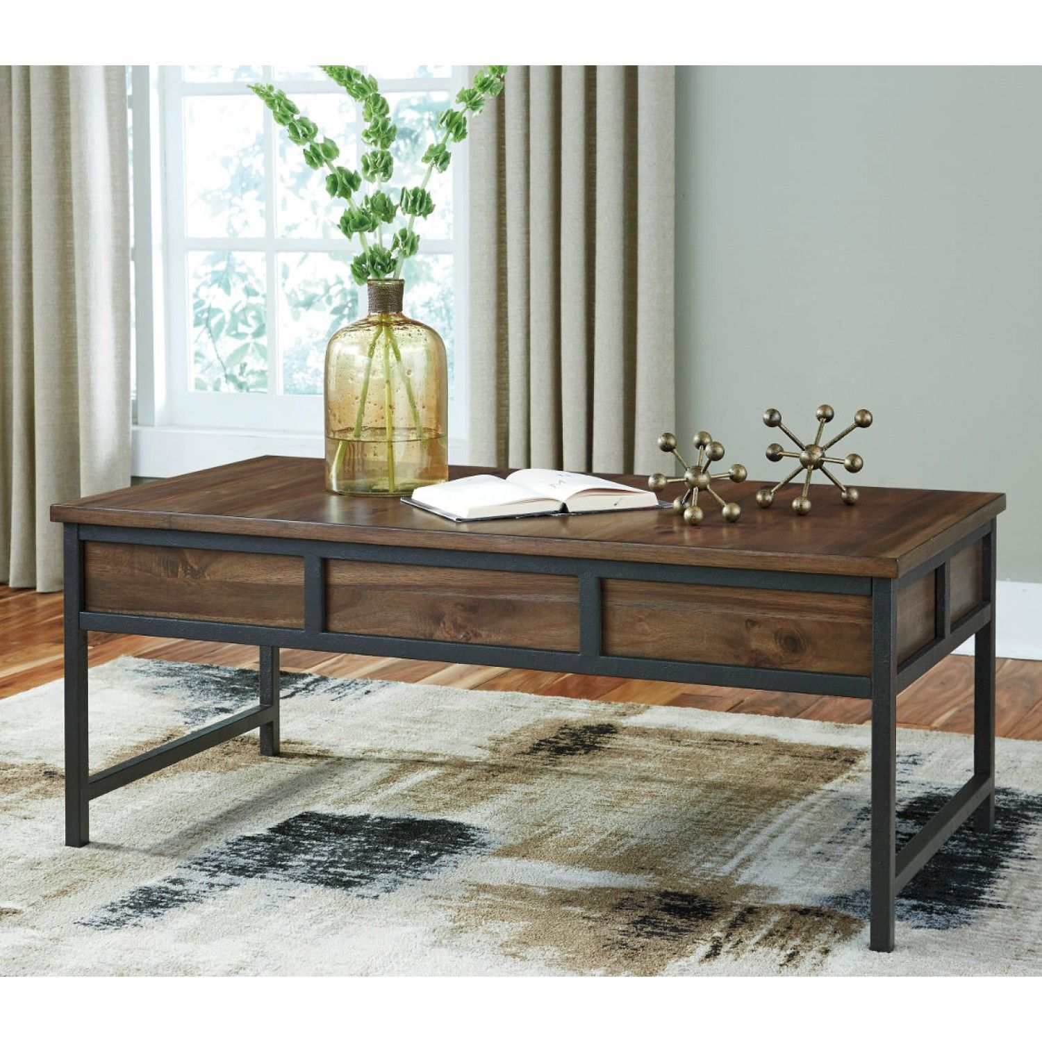 Ashley Furniture Monilee Rectangular Cocktail Table In Medium Brown Furniture Cool Coffee Tables Table