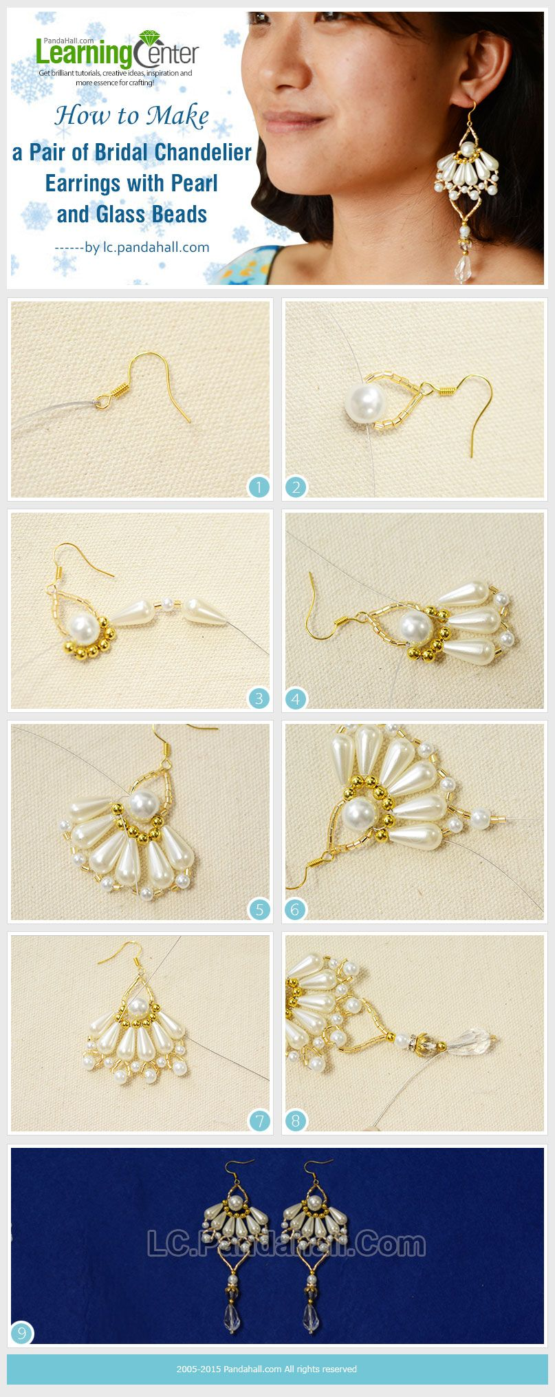 How to make a pair of bridal chandelier earrings with pearl and how to make a pair of bridal chandelier earrings with pearl and glass beads arubaitofo Image collections
