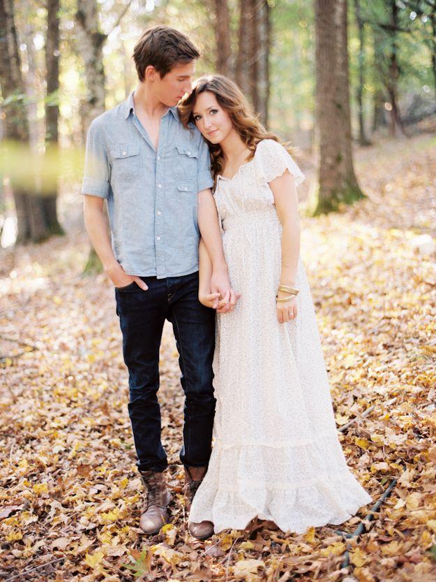 Engagement Fall Autumn Woods Leaves Maxi Dress
