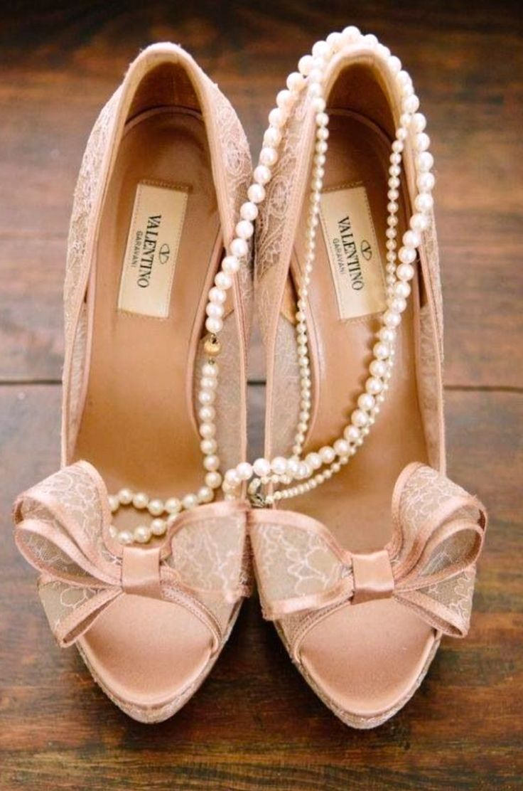 Valentino Pink Lace Pearls Bows Schuhe Hochzeit Hochzeitsschuhe Valentino Schuhe